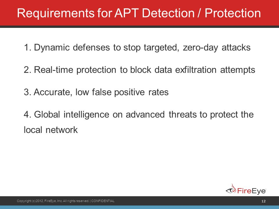 Requirements for APT Detection / Protection