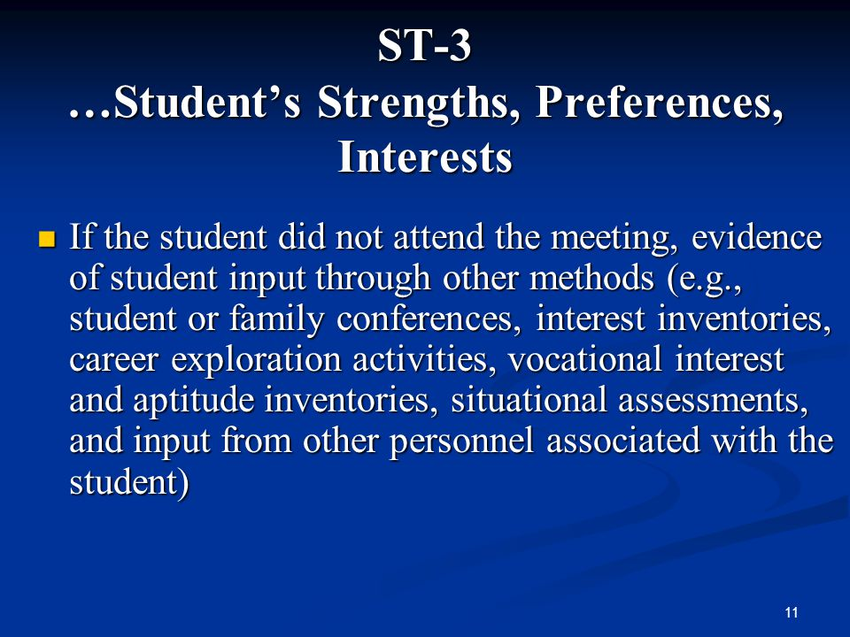 ST-3 …Student's Strengths, Preferences, Interests