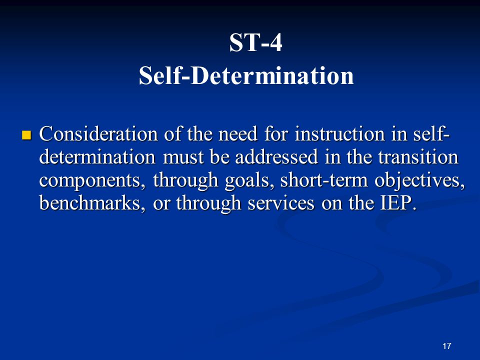 ST-4 Self-Determination