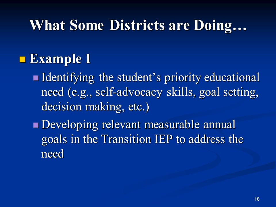 What Some Districts are Doing…