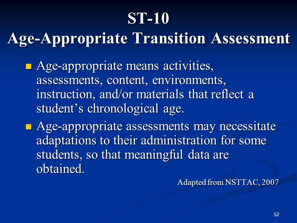 ST-10 Age-Appropriate Transition Assessment
