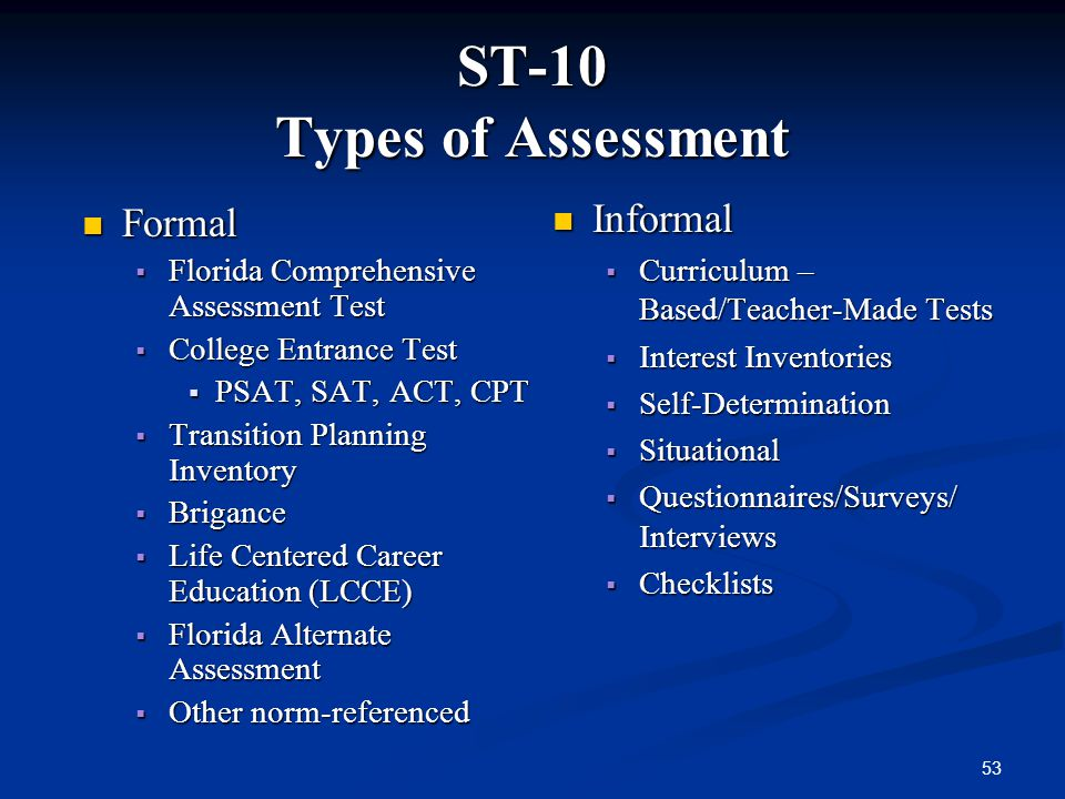 ST-10 Types of Assessment