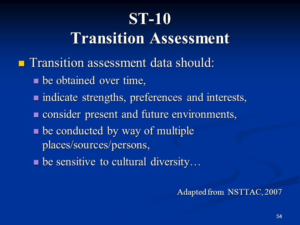 ST-10 Transition Assessment