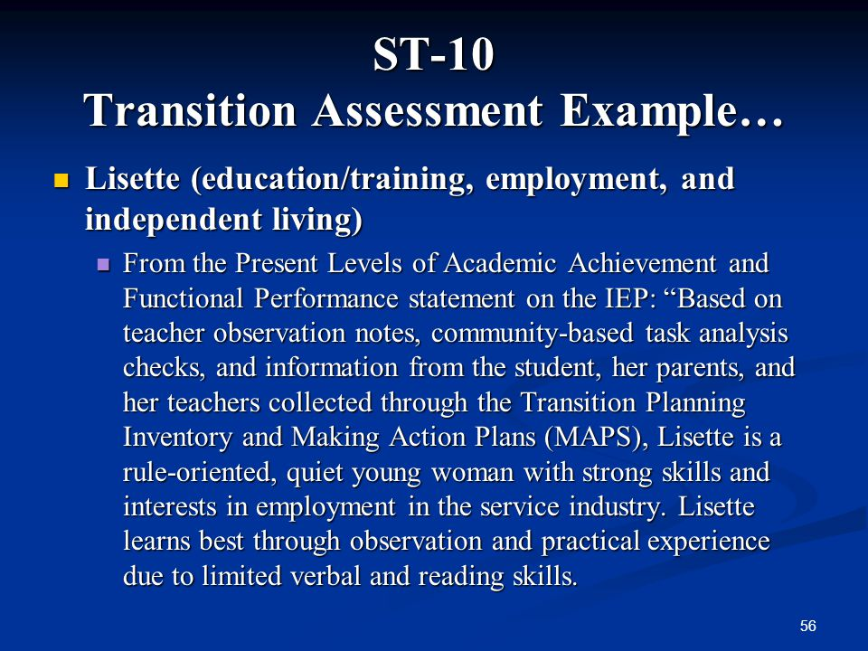 ST-10 Transition Assessment Example…