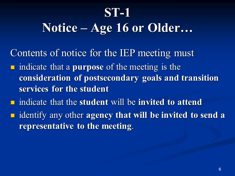 ST-1 Notice – Age 16 or Older…
