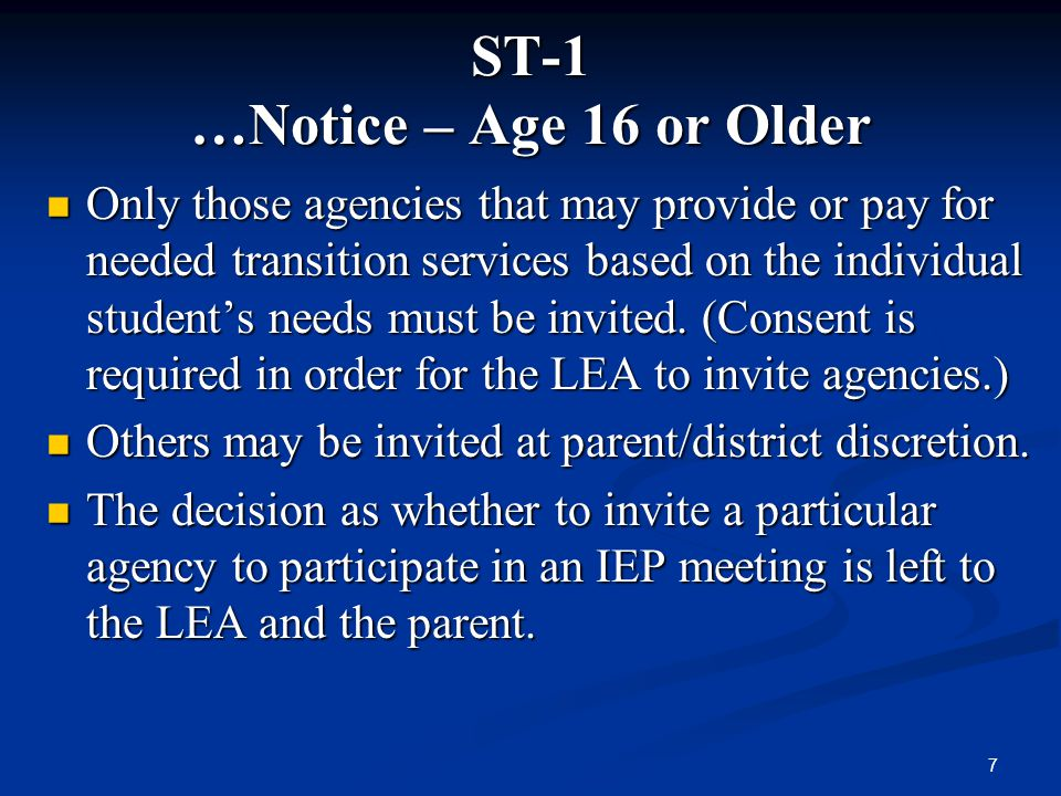 ST-1 …Notice – Age 16 or Older