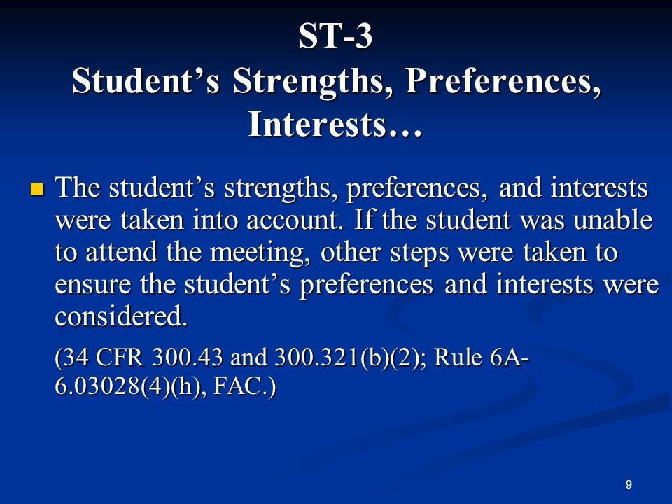 ST-3 Student's Strengths, Preferences, Interests…