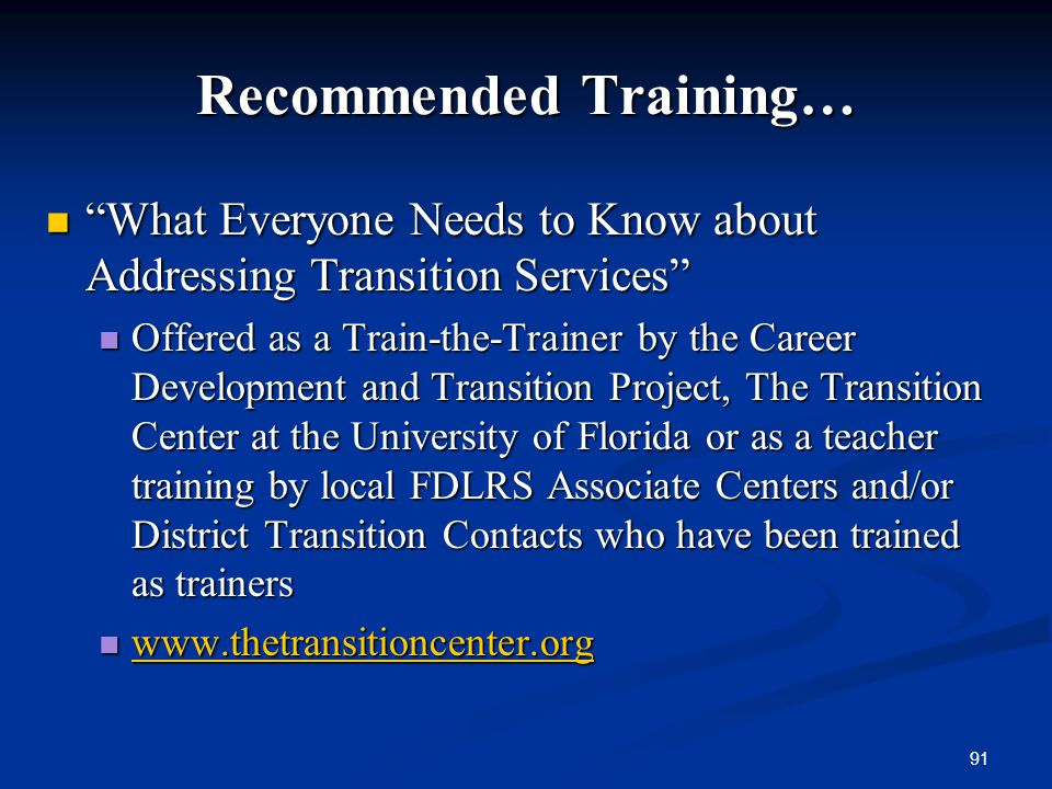 Recommended Training…