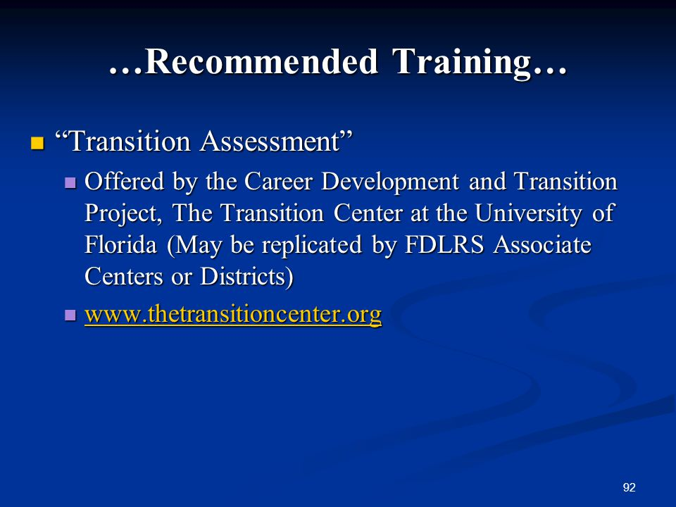 …Recommended Training…