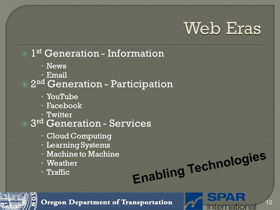 Web Eras Enabling Technologies 1st Generation - Information