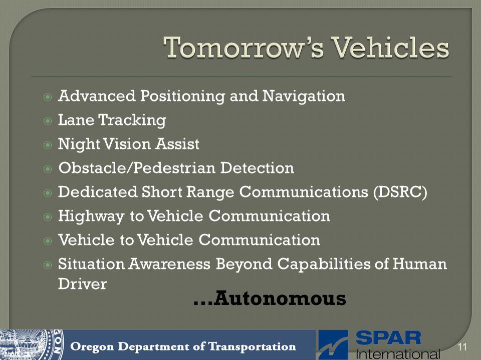 Tomorrow's Vehicles …Autonomous Advanced Positioning and Navigation