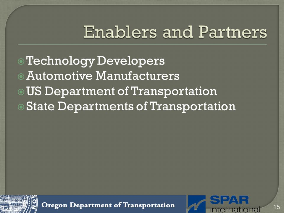 Enablers and Partners Technology Developers Automotive Manufacturers