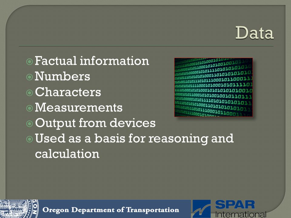 Data Factual information Numbers Characters Measurements