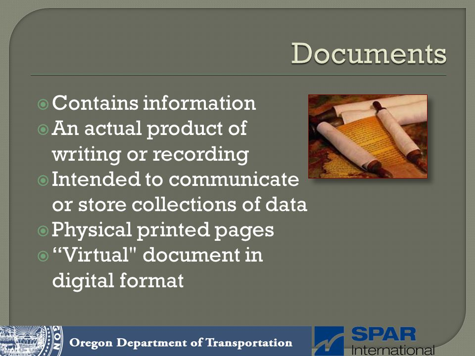 Documents Contains information