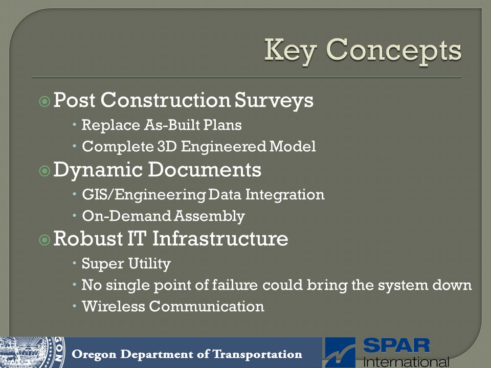 Key Concepts Post Construction Surveys Dynamic Documents