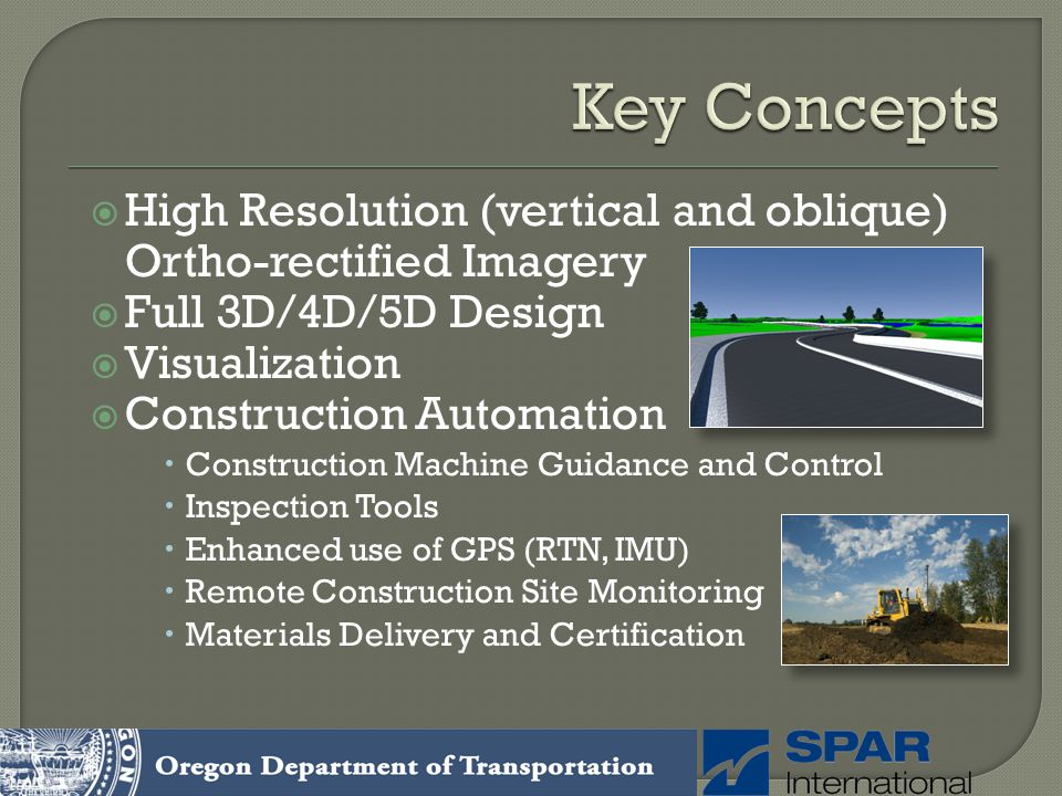 Key Concepts High Resolution (vertical and oblique) Ortho-rectified Imagery. Full 3D/4D/5D Design.