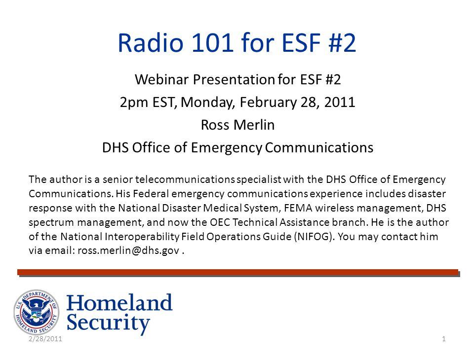 Radio 101 for ESF #2 Webinar Presentation for ESF #2