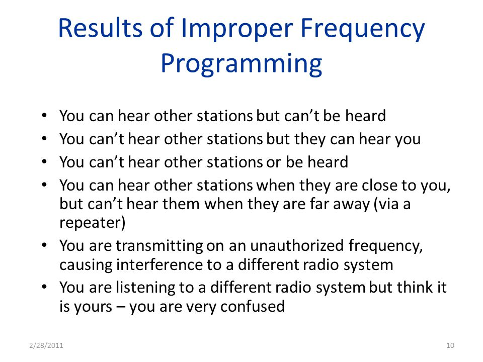 Results of Improper Frequency Programming