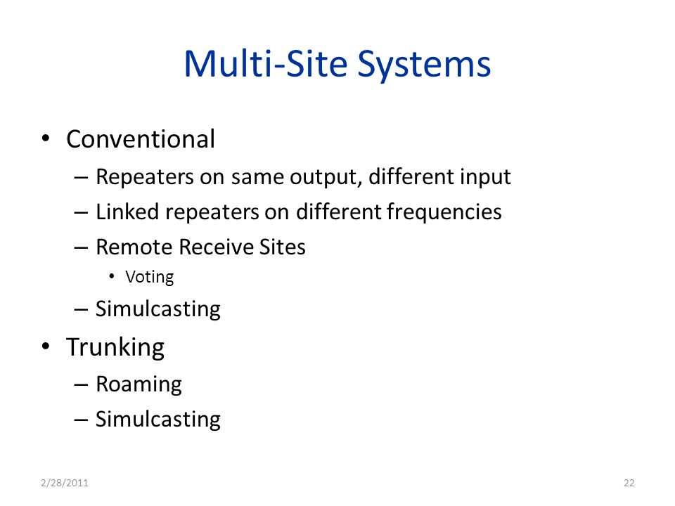 Multi-Site Systems Conventional Trunking