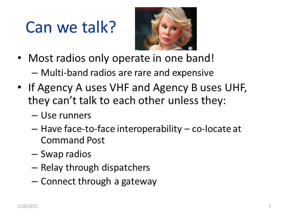 Can we talk Most radios only operate in one band!