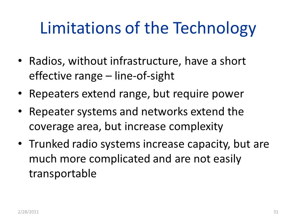 Limitations of the Technology