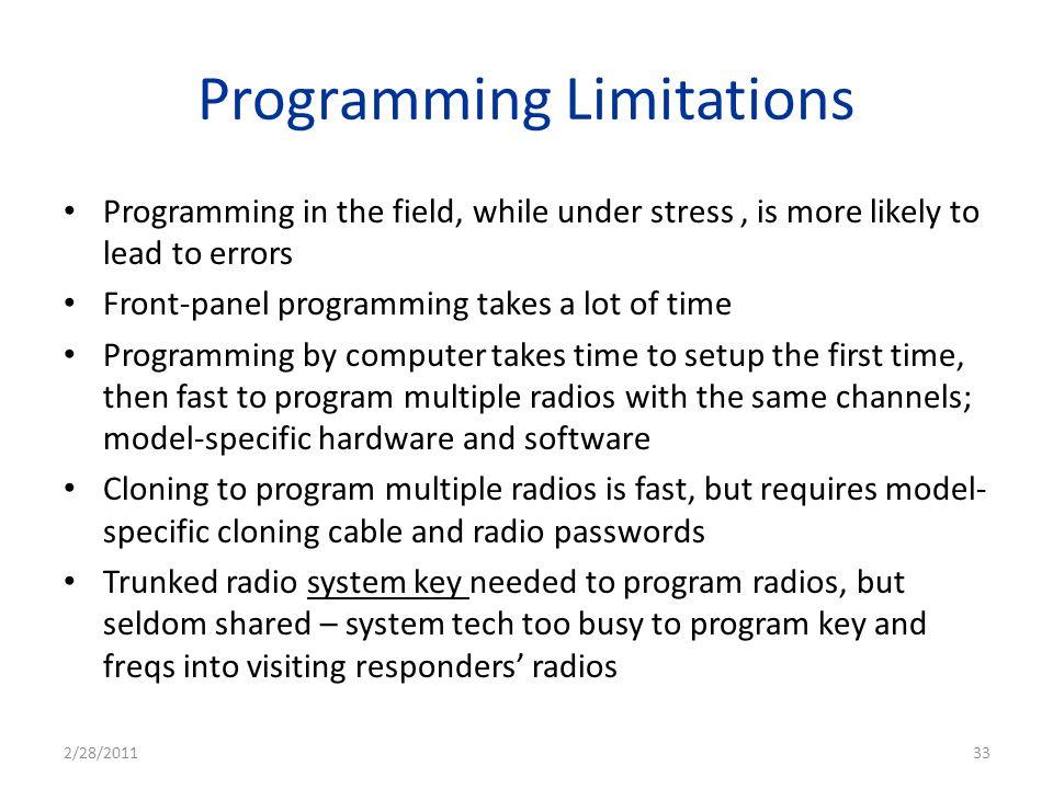 Programming Limitations