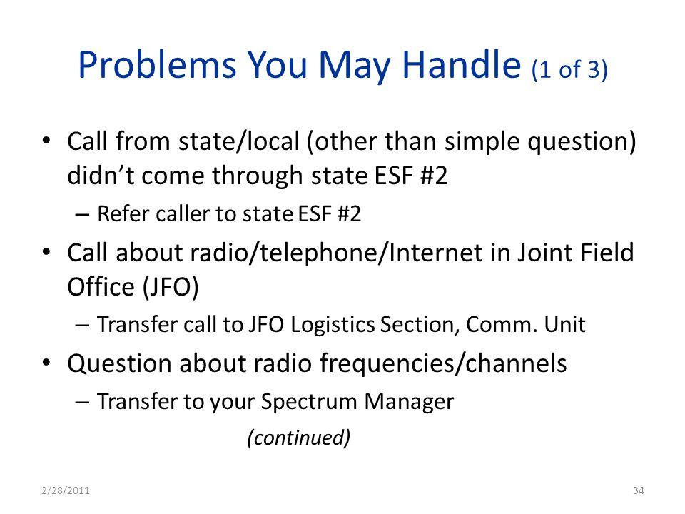 Problems You May Handle (1 of 3)