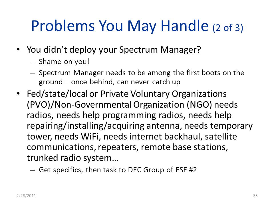 Problems You May Handle (2 of 3)