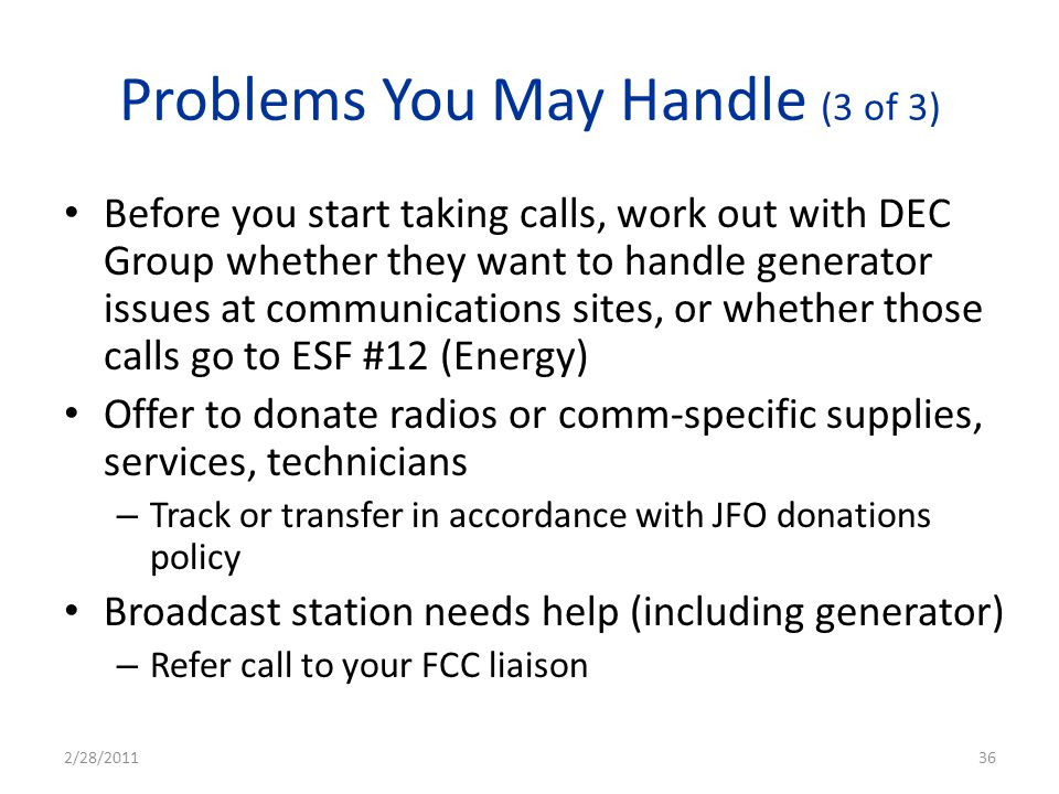 Problems You May Handle (3 of 3)