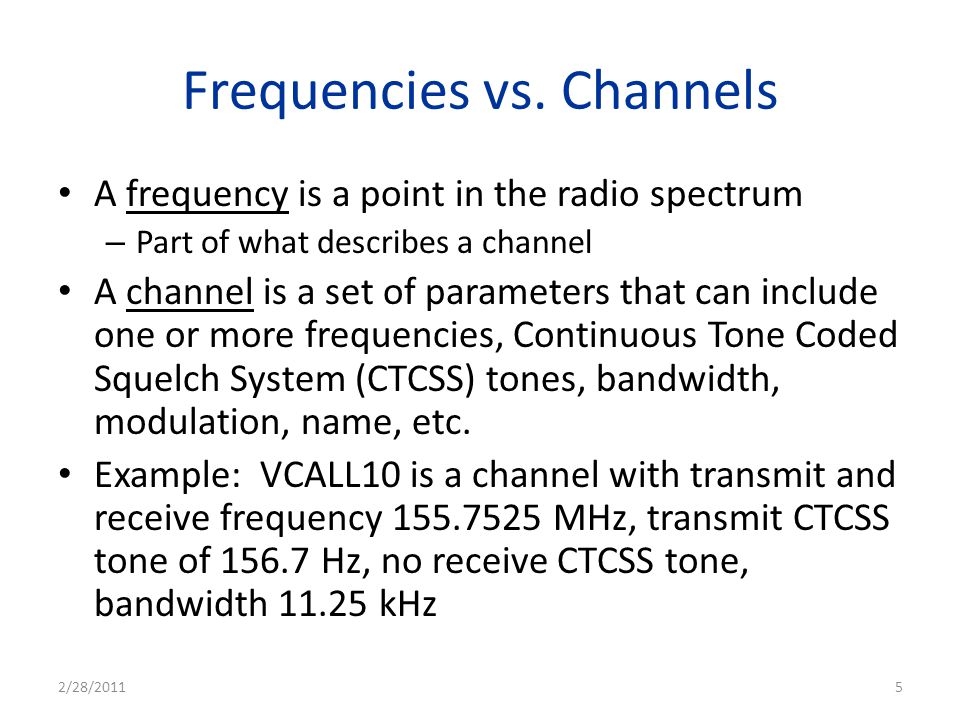 Frequencies vs. Channels