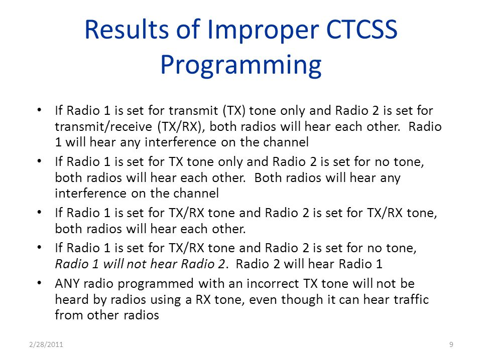 Results of Improper CTCSS Programming