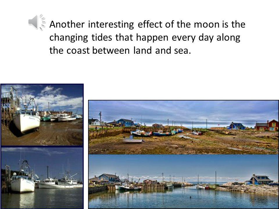 Another interesting effect of the moon is the changing tides that happen every day along the coast between land and sea.