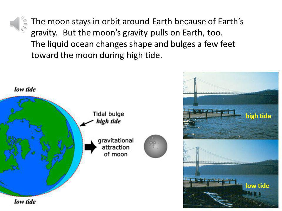 The moon stays in orbit around Earth because of Earth's gravity