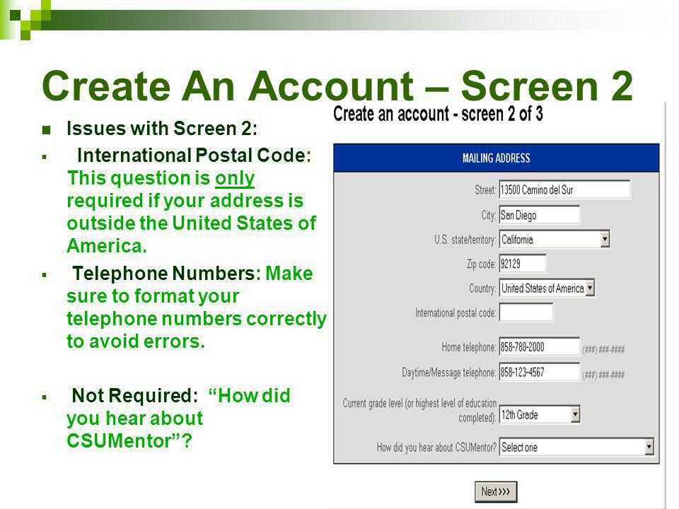Create An Account – Screen 2