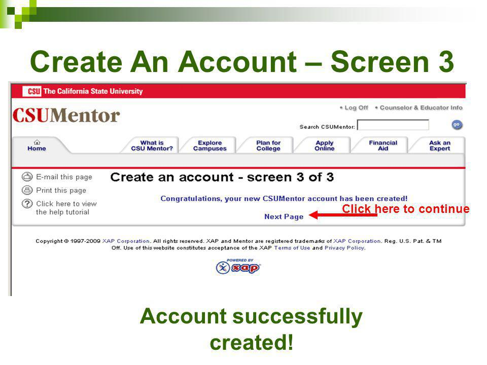 Create An Account – Screen 3