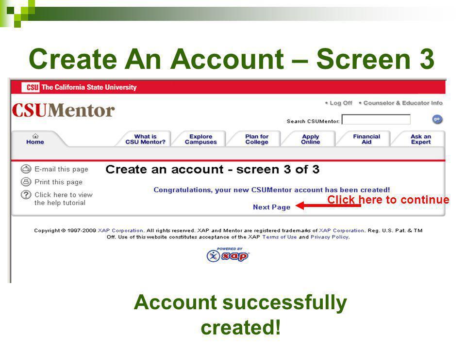 Create An Account – Screen 3
