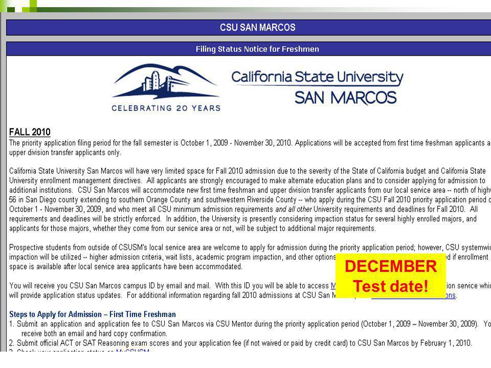 DECEMBER Test date!