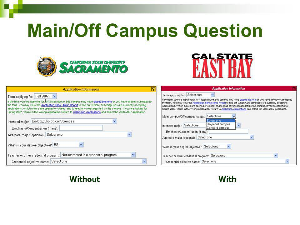 Main/Off Campus Question