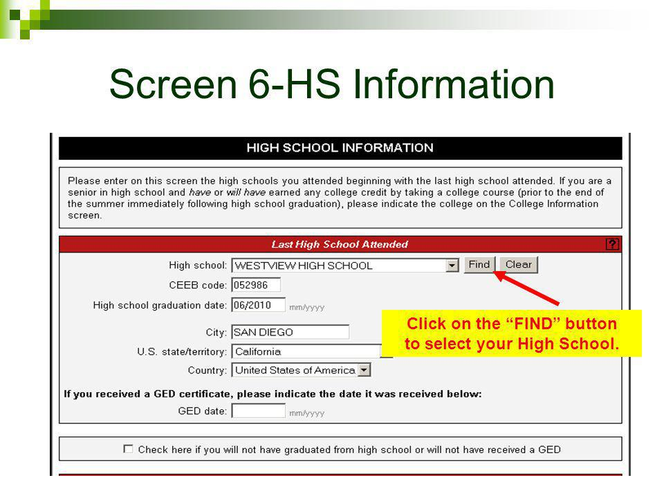 Screen 6-HS Information