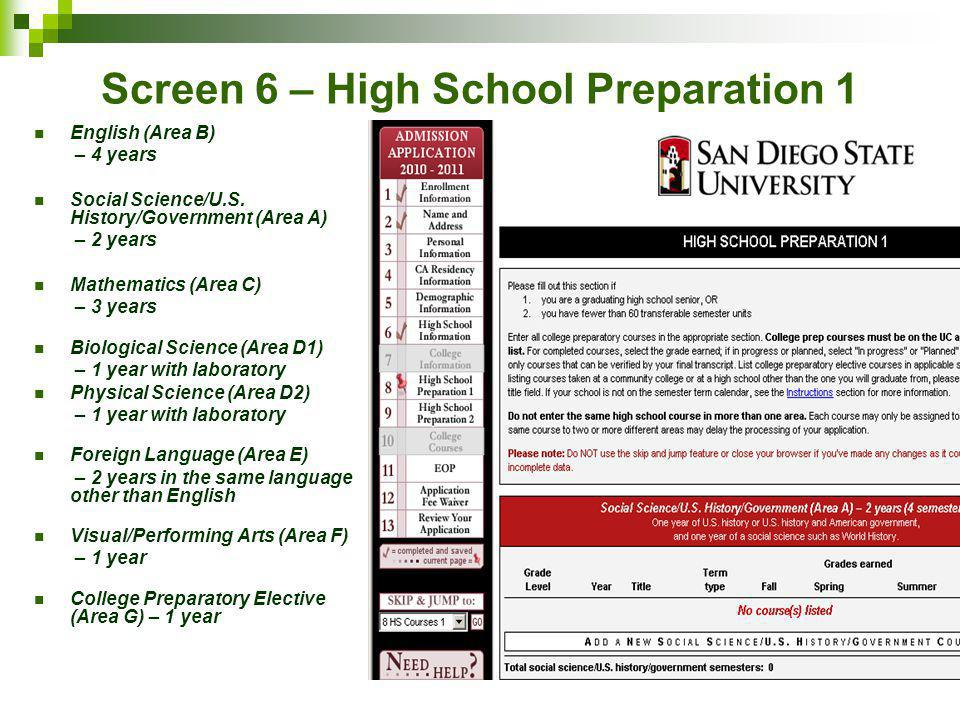 Screen 6 – High School Preparation 1