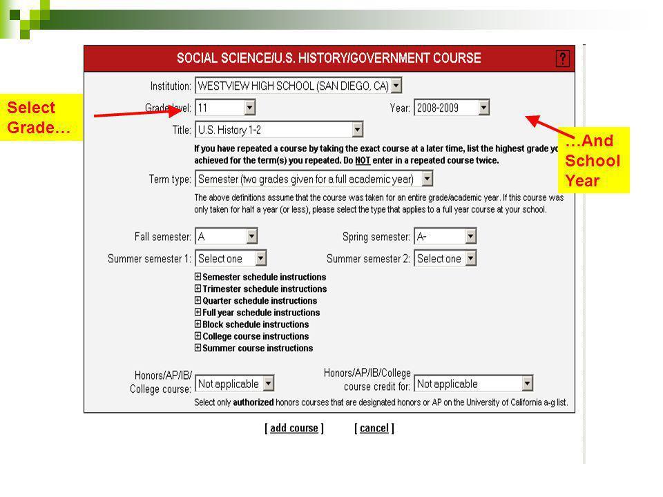 Select Grade… …And School Year Grade Simple