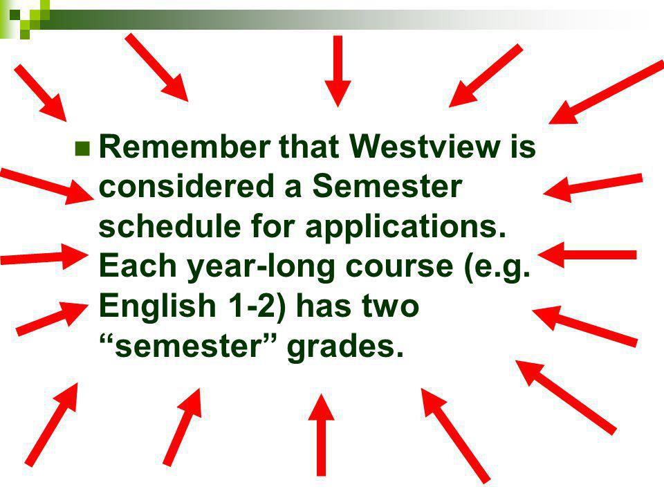 Remember that Westview is considered a Semester schedule for applications.