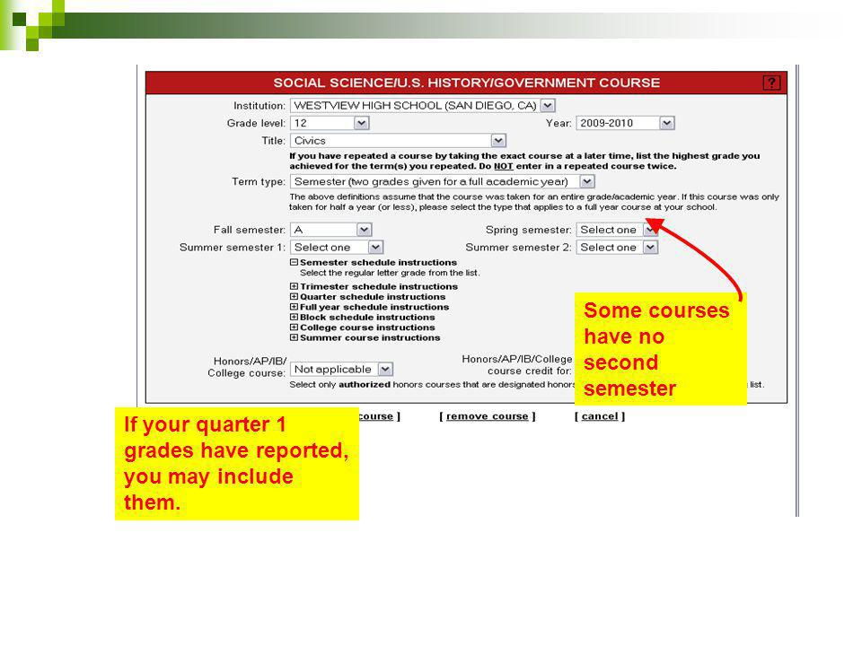 Some courses have no second semester