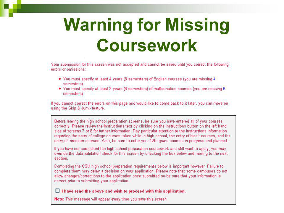 Warning for Missing Coursework