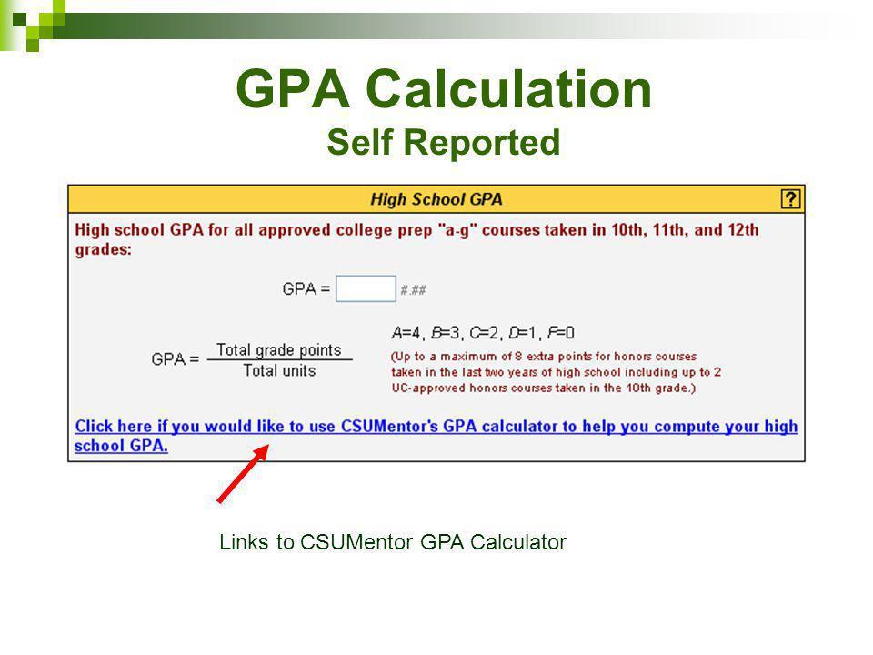 GPA Calculation Self Reported