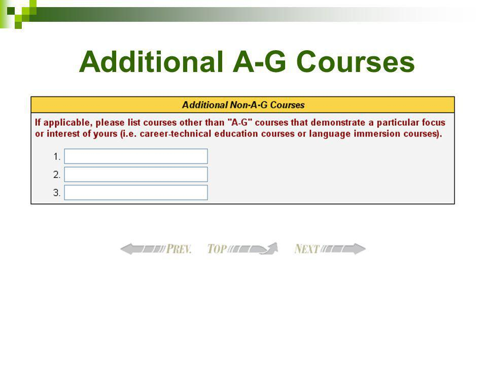 Additional A-G Courses