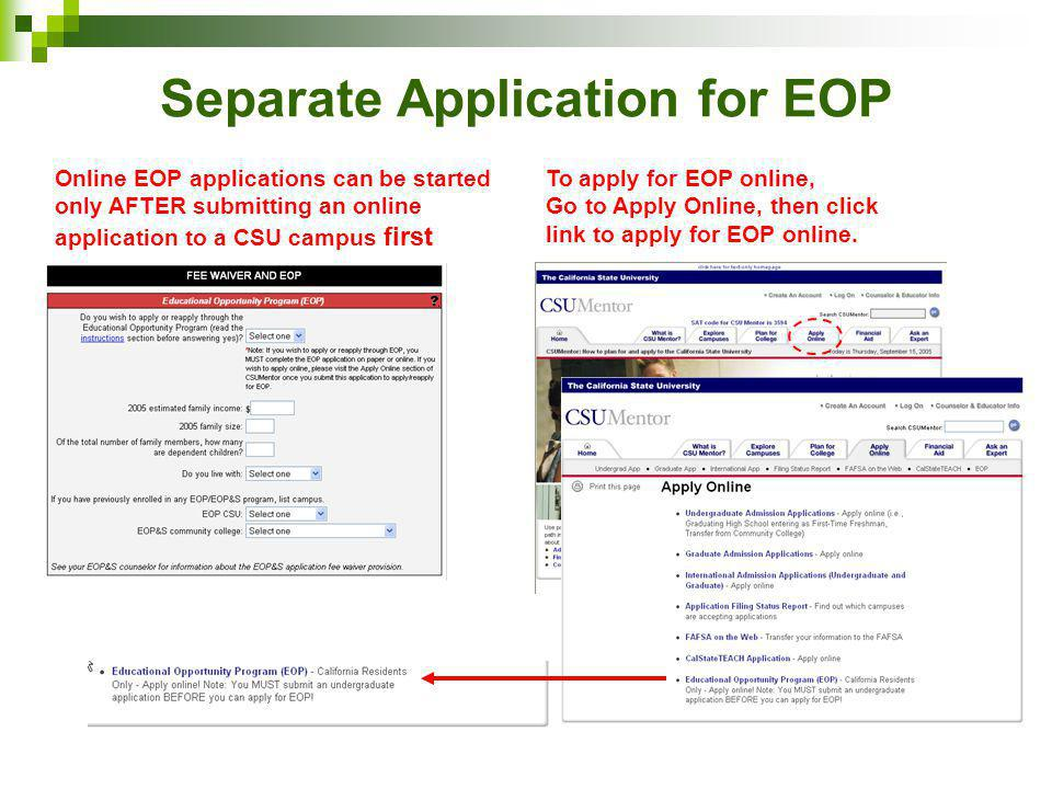 Separate Application for EOP