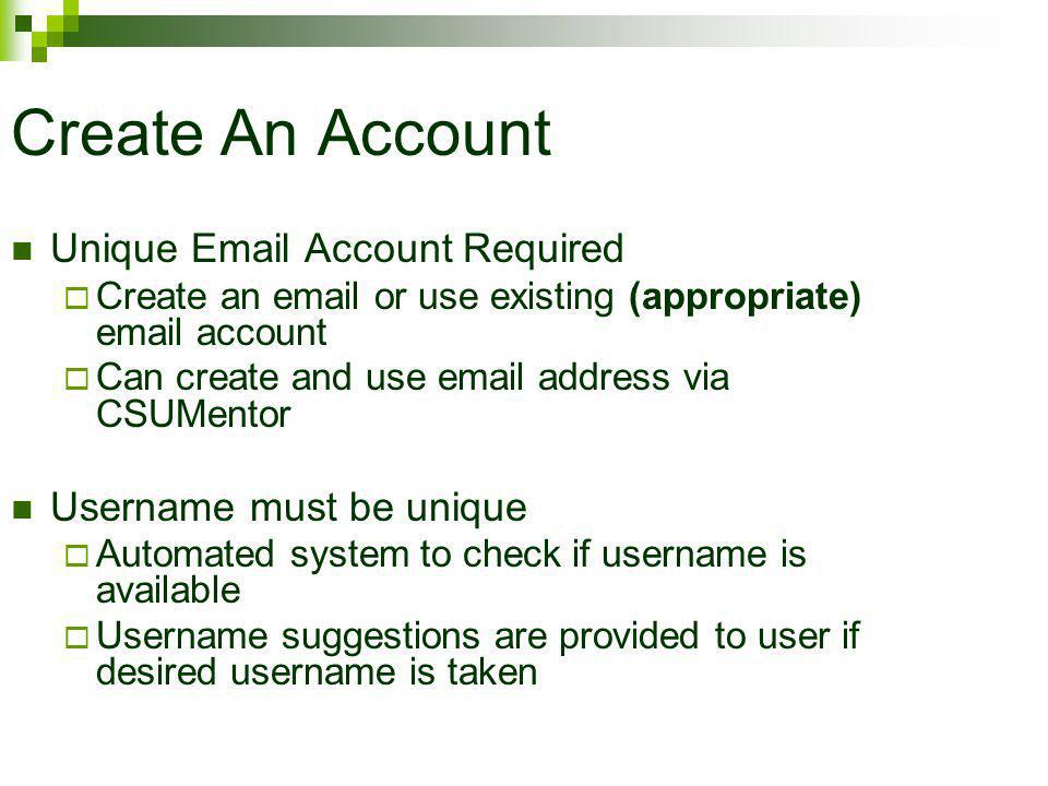 Create An Account Unique Email Account Required