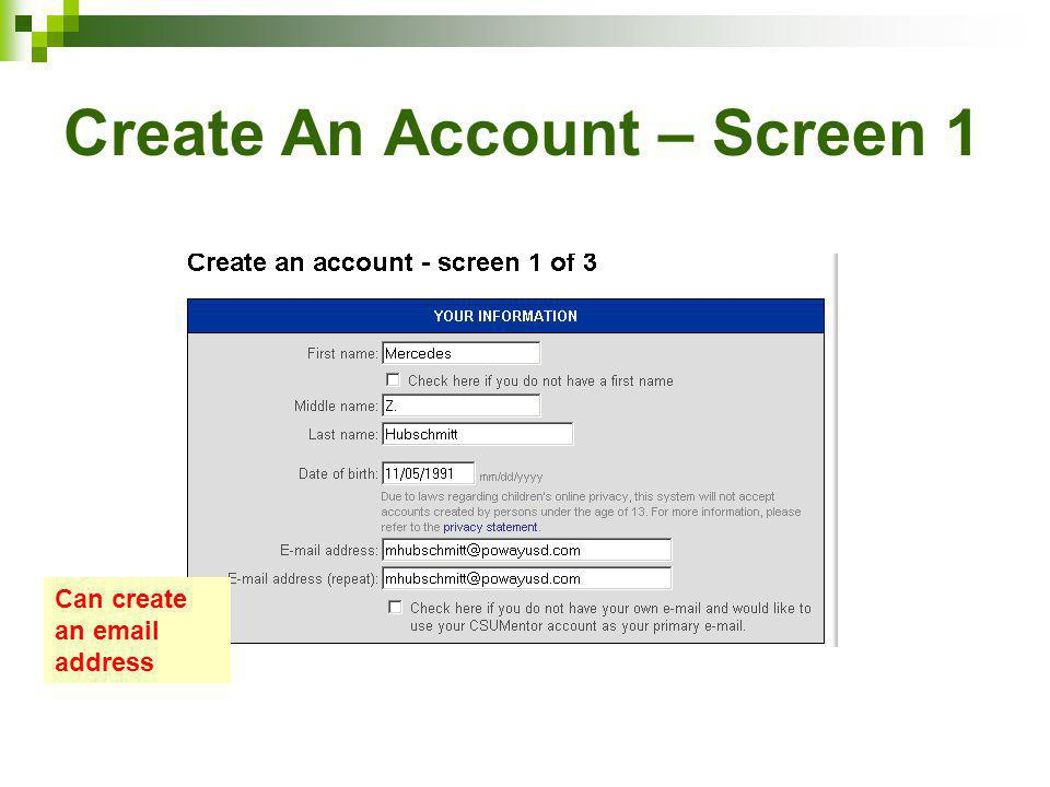 Create An Account – Screen 1