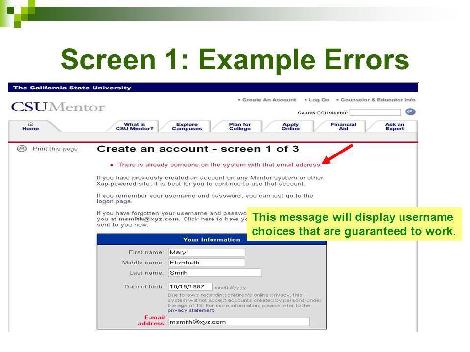 Screen 1: Example Errors